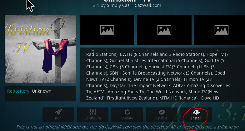 Christian TV Cazwall Repo Addon for Kodi