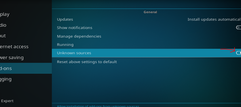 How to Turn On Unknown Sources locations in KODI