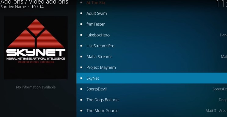 Skynet Latest Version Install on Kodi 17.6