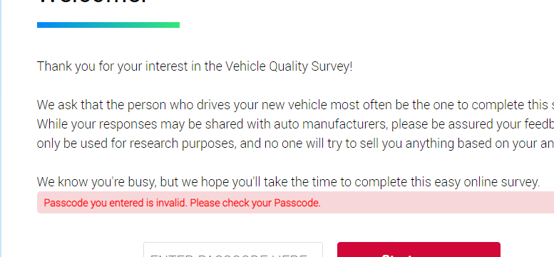 Vehicle Quality Survey invitation from J.D. Power